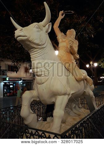 Statue The Rapture Of Europe In Torremolinos, Malaga. Andalusia. Spain. Europe. September 13, 2019