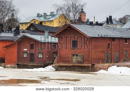 Porvoo, Finland 04 March: 2015: View Of The Old Ocher Magazines And Historic Old Town, Vanha Porvoo,