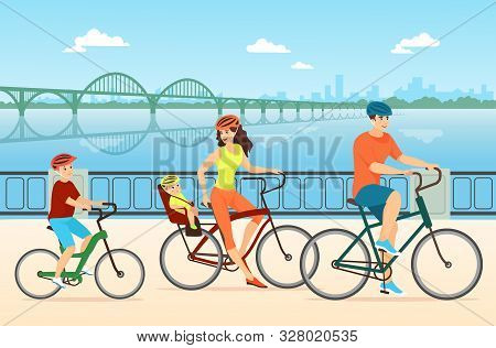 Happy Family Cycling Flat Vector Illustration. Couple With Children, Mother, Father And Kids Cartoon