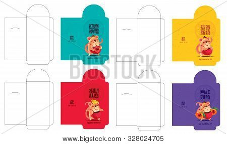 Colourful Money Packet Ang Pao Set. Little Rat With Traditional Chinese Ornament Pattern Background.