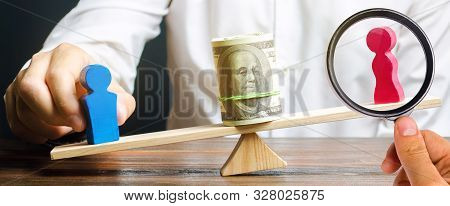 Wooden figures of man and women on the scales. Concept of gender pay gap. Income inequality. Oppression of women. Gender discrimination. Underestimation of female labor. Segregation. poster