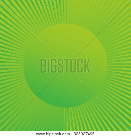 Beautiful Green Summer Sun Rays, Sun Burst Background With Circle For Your Text. Stock Vector Illust