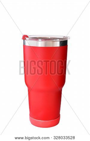 Red Steel Mug For Keep Temperature On White Background With Clipping Path.