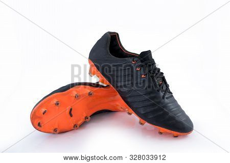 Football Boots, Sports Shoes On White Background With Clipping Path.