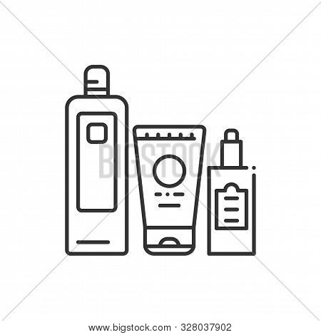 Comprehensive Hair Care Black Line Icon. Cosmetic Products: Shampoo, Conditioner, Oil. Beauty Indust