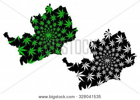 Hertfordshire (United Kingdom, England, Non-metropolitan county, shire county) map is designed cannabis leaf green and black, Hertfordshire (Herts) map made of marijuana (marihuana,THC) foliage poster