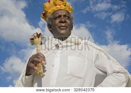 Gonçalves, Minas Gerais, Brazil - March 19, 2016: Afro-brazilian Man In Costume, Celebrating The Rev