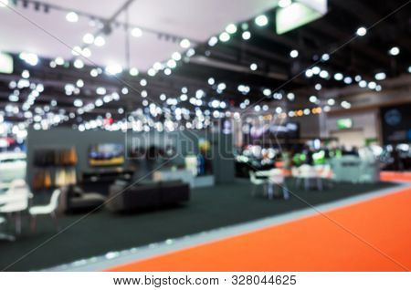 Abstract Blurred Image Of Reception Area From Event Hall At Shopping Mall Or Public Event Exhibition
