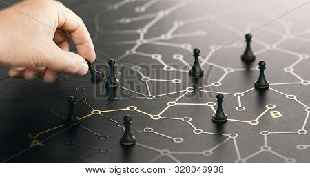 Hand Moving Pawn On A Conceptual Labyrinth. Shortcut From Point A To B Or Career Guidance Concept. C
