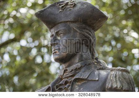 Tiradentes, Minas Gerais, Brazil - March 08, 2016: Statue Of Tiradentes, Who Was A Leading Member Of