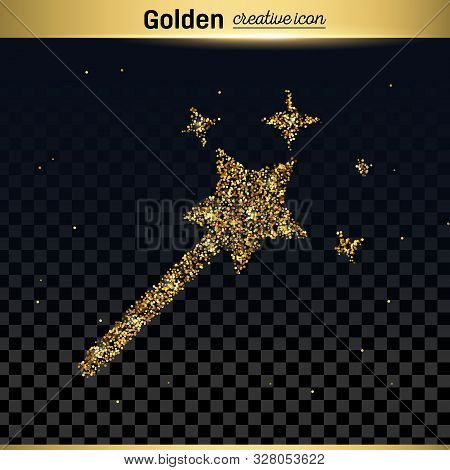 Gold Glitter Vector Icon Of Magic Wand Isolated On Background. Art Creative Concept Illustration For
