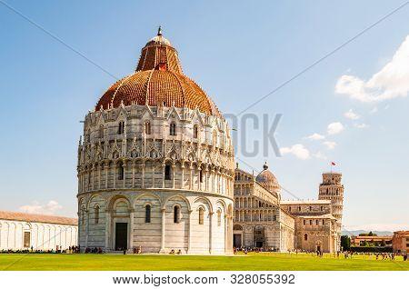 Pisa, Italy - September 03, 2019: The Pisa Baptistery Of St. John Or Battistero Di San Giovanni, Pis