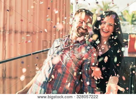 Millennials Young People Having Fun Celebrating In The Discoteque. Happy Couple Doing Party Throwing