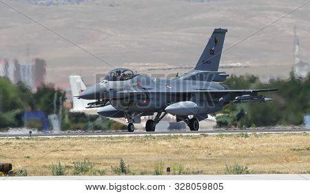 Konya, Turkey - June 26, 2019: Turkish Air Force General Dynamics F-16c Fighting Falcon (cn 4r-116)