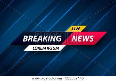 Breaking News Vector Background. World News Tv Screen. Vector Banner