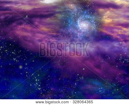 Galaxy in purple blue space. 3D rendering