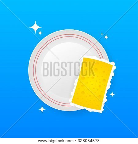 Dishwashing, Washing Dishes. Dishwashing Liquid, Dishes And Yellow Sponge. Vector Stock Illustration