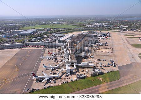 London, Uk - April 16, 2014: Aerial View Of London Heathrow Airport, Uk. Heathrow Is The Busiest Air
