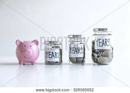 Images Of Coin In Piggy Bank For Step Up Growing Business To Profit Of Each Years And Saving With Pi