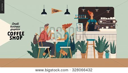 Coffee Shop Interior-small Business Illustrations -visitors -modern Flat Vector Concept Illustration