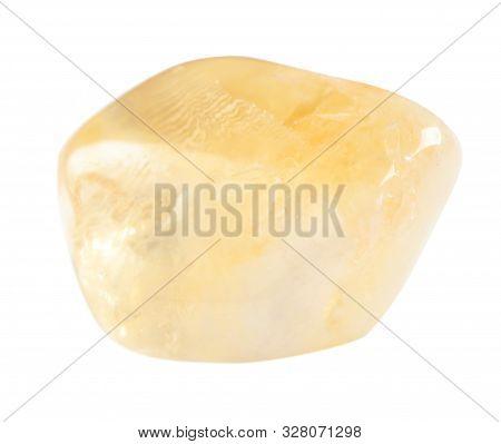 Beautiful Citrine Quartz Gemstone On White Background