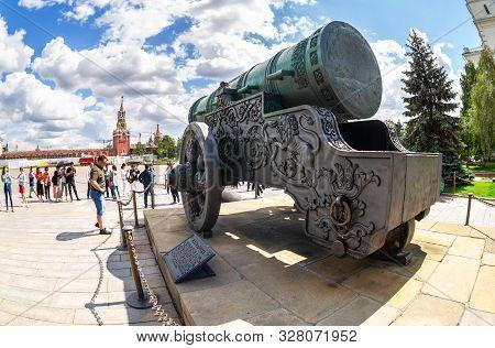 Moscow, Russia - July 9, 2019: Fisheye View On The Tsar Cannon (tsar-pushka) In The Moscow Kremlin I