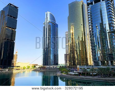 Dubai / Uae - October 15, 2019: View Of Jumeirah Lakes Towers Skyscrapers With Waterfront. Residenti