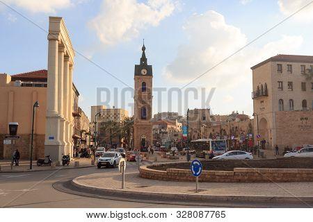 Tel Aviv, Israel - March 17, 2019: Roundabout Traffic Clock Square In Tel Aviv Jaffa With Clocktower