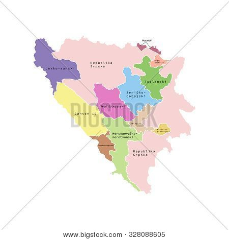 Vector Illustration Of Administrative Division Map Of Bosnia And Herzegovina. Vector Map.