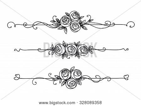 Floral Elegant Patterns Black And White. Cover Page Design. Vintage Elements For Decor Line Art. Ros