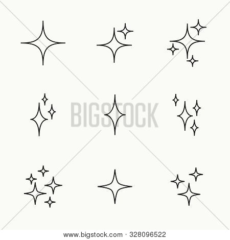 Set Of Vector Stars Sparkle Icon. Bright Firework, Twinkle, Shiny Flash. Sparkles Symbols Vector. Gl