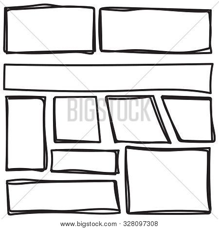 Set Of Freehand Drawn Horizontal And Vertical Rectangles And Squares Drawn By Felt-tip Pen. Text Box