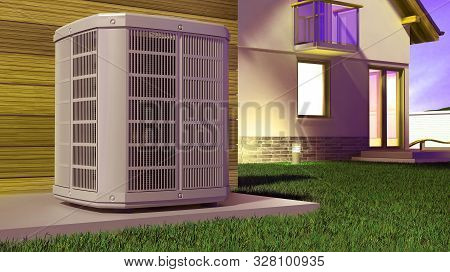 Air Heat Pump And House 3d Illustration
