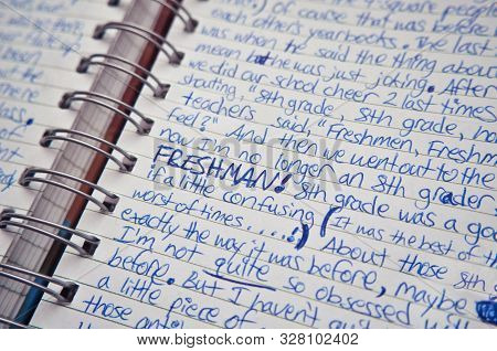 Handwritten Diary Entry In A Notebook By A Teenager