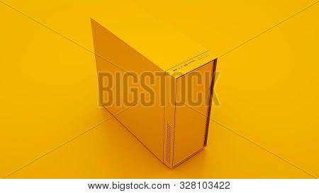 Yellow Case of Computer. Minimal idea concept. 3d illustration. poster