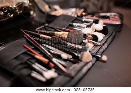 Makeup Brushes, Preparation For The Holiday. Makeup Artist Tools.