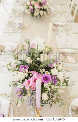 Floral Wedding Decoration. Wedding Table Setting Decorated With Fresh Flowers. Wedding Floristry. Bo