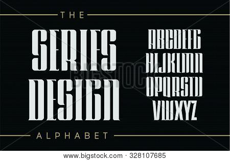Set Of Tall Letters With Elegant Serifs. Classic Vintage Style, Decorative Vector Ancient Alphabet.