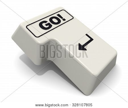 The Enter Key Of Keyboard Labeled Go! Computer Enter Key Of Keyboard With Black Word Go! Isolated On