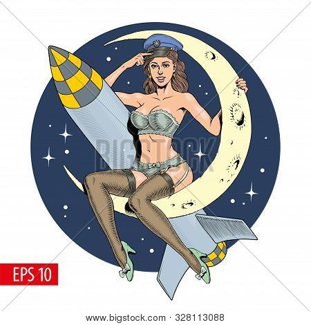 A Vintage Comic Style Sexy Woman Sitting On The Crescent Moon With A Missile Or Rocket. Vector Illus