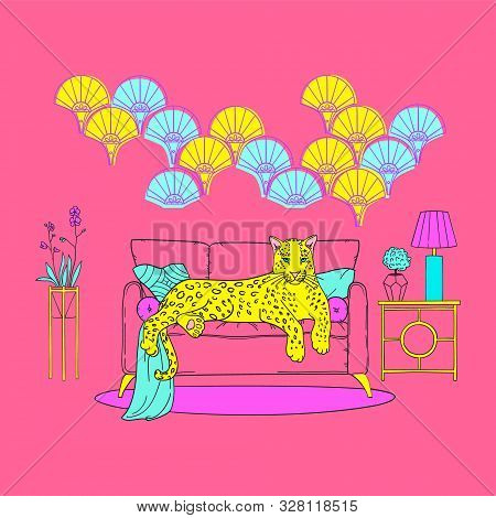 Illustration Of Cute Leopard In Neon Pop Colors, On A Sofa In An Art Deco Interior. Memphis Pop Back