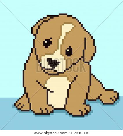 Pixel puppy - vector illustration
