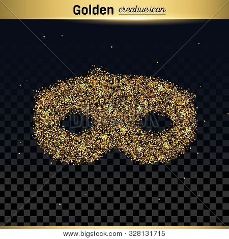 Gold Glitter Vector Icon Of Mask Isolated On Background. Art Creative Concept Illustration For Web,
