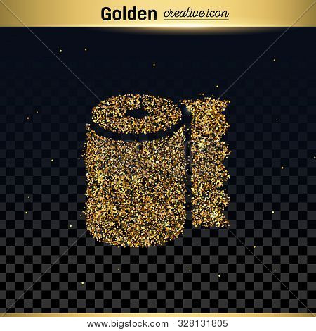 Gold Glitter Vector Icon Of Toilet Isolated On Background. Art Creative Concept Illustration For Web