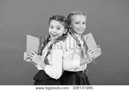 These Books Are Absolutely Genius. Genius Little Children Smiling On Red Background. Happy Genius Gi
