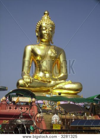 Gold Buddha At The Golden Triangle, Thailand.