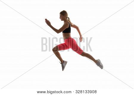 poster of Girl runner on white background. Sport lifestyle and health concept. Start run. Life is motion. Woman athlete run achieve great result. How run faster. Speed training guide. Improve run speed.