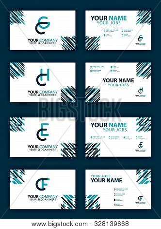 Business Card Design Set With Cg And C Company Logo. Modern Flat Design Concept For Landing Page Web