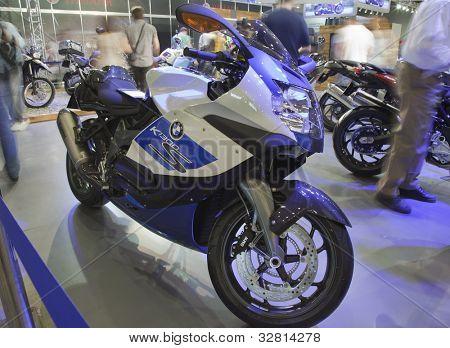 KIEV, UKRAINE - APRIL 29: A new BMW k 1300 s motorbike is on display at the International Specialized Exhibition,