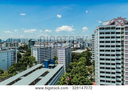 Singapore-17 Oct 2017: Singapore Hdb Residential Building Area Aerial View
